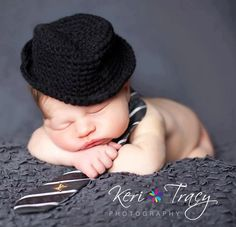 little man fedora crochet newborn baby photo prop by Beansknots. $22.00, via Etsy.