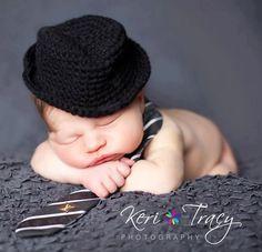little man fedora crochet newborn baby photo prop by Beansknots. $22.00, via Etsy.