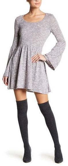 Living Doll Bell Sleeve Heathered Fit & Flare Sweater Dress