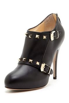 Another Winner - Studded Buckle High Heel Bootie