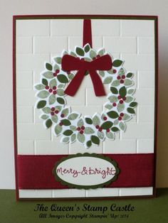 Stampin' Up! Wondrous Wreath by Laura Heindl . formal center line weighed design . luv the subtle brick texture on the background layer . Homemade Christmas Cards, Stampin Up Christmas, Christmas Cards To Make, Noel Christmas, Xmas Cards, Handmade Christmas, Homemade Cards, Holiday Cards, Christmas Crafts