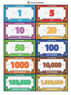 Print play money from 1 to Play Money Template, Printable Play Money, Printable Board Games, Monopoly Cards, Monopoly Money, Card Games For Kids, Fun Activities For Kids, Kids Carnival, Money Games