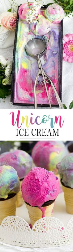 4 Ingredient Unicorn Ice Cream Recipe, perfect for unicorn themed party! Glace Unicorn, Unicorn Ice Cream, Sweet Recipes, Cake Recipes, Dessert Recipes, Frozen Desserts, Frozen Treats, Summer Desserts, Summer Recipes