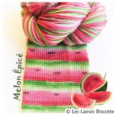 Bis-Sock AUTORAYANTE - Melon d'eau - Les Laines Biscotte  - 1
