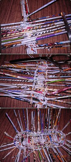 Again newspaper ... weaving weaving oval bottoms ... two sticks (part 1)   Country Masters