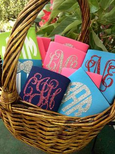 Glitter Monogram Koozie! Navy with gold or pink glitter please- in the fancy font! Great personalized party favor