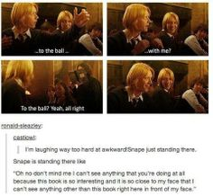 Snape is secretly a fangirl and has been wanting Fred and Angelina to get together for a while so instead of hitting them with a book he is actually pretending to read when really he is watching them because he ships them harder than anyone