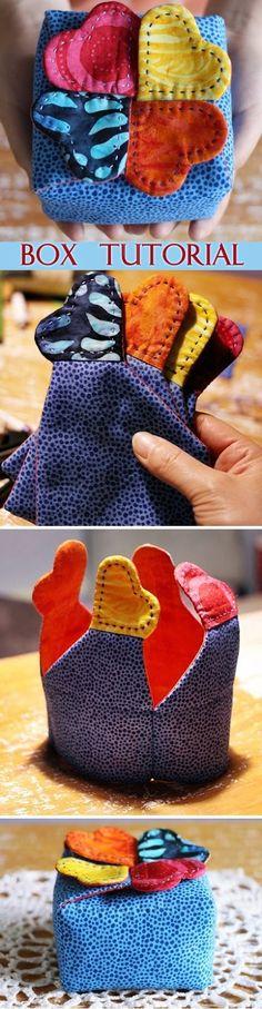 Gift box, Casket for storage of fabric. DIY tutorial in pictures. Подарочная коробочка, шкатулка http://www.handmadiya.com/2015/09/gift-box-tutorial.html
