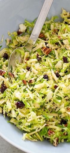 Brussels Sprout Salad with Smoked Gouda, Pecans, and Dried Cherries.