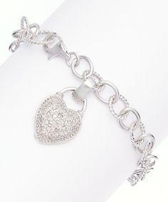 Look at this #zulilyfind! Sterling Silver & Diamond Heart Bracelet #zulilyfinds
