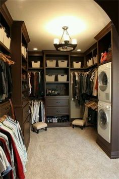 Closet with washer and dryer inside.... Ok I don't know whether to cry or laugh...add a TV and small Krups coffee maker and I would never have to leave my bedroom.. | Smelly Laundry? Washer Odor? | Never Run a Washer Cleaning Cycle Again!!! | Permanently Eliminate or Prevent Washer & Laundry Odor with Washer Fan™ Breeze™ | http://WasherFan.com | Installs in Seconds... No Tools or Special Skills Required! #WasherOdor #SWS #Laundry