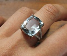 I would totally rock this as an engagement ring. 6 Carat Aquamarine Engagement Ring Diamonds 14K by SteveleeJewelry, $1250.00