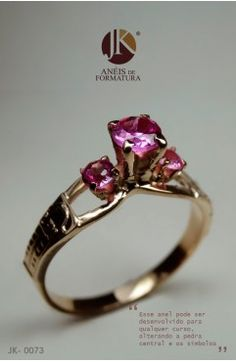 Anel de Formatura 73 -ouro 18k DISPONÍVEL PARA TODOS OS CURSOS Pretty Rings, Heart Ring, Diy And Crafts, Gold Rings, Pandora, Women Jewelry, Rose Gold, Jewels, Gemstones