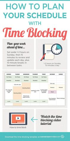 How to Plan Your Schedule with Time Blocking (Plus a Video Tutorial!) This post includes time management tips and time blocking template, plus a step by step planner and video on how to use time blocking to plan your schedule and increase productivity. Click through for the template! #timeblocking #timemanagement #productivity