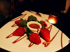 At a nice chat with a good friend on delicious strawberries at Max Brenner, Sydney.