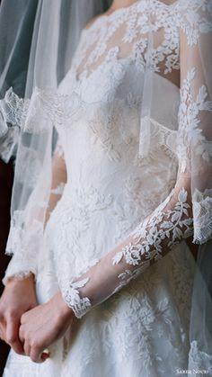 sareh nouri bridal spring 2017 illusion off shoulder long sleeves aline wedding dress (lily of the valley) zfv sleeve veil