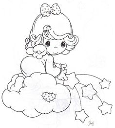 Precious Moments Coloring Page(s) | Girl Angel Sprinkling Stars On The Sky.