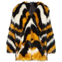 Meadham Kirchhoff Pam Tagon striped faux fur coat (3,210,140 KRW) ❤ liked on Polyvore featuring outerwear, coats, jackets, fur, black coat, meadham kirchhoff, faux fur coats, black faux fur coat and imitation fur coats