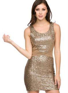f8ed995eee Gold Sequin Bodycon Dress  partydress Sequin Dress