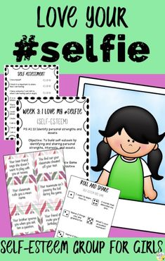 Self-Esteem Girls Counseling Group: Love Your Selfie Girls Confidence Group Self-Esteem Girls Counseling Group: Love Your Selfie Girls Confidence Liu Self-Esteem activities for kids. Help students identify their strengths and build self-esteem with. Elementary School Counselor, School Counseling, Elementary Schools, Group Counseling, Counseling Crafts, Activities For Girls, Group Activities, Therapy Activities, Learning Resources