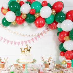 How to Host a Cookie Decorating Party for Kids : Christmas balloon garland Christmas Party Backdrop, Adult Christmas Party, Christmas Birthday Party, Christmas Balloons, Christmas Backdrops, Holiday Parties, Kids Christmas, Parties Kids, Holiday Fun