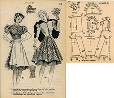 1940s (1941) German Women's Dress Lutterloh 1941A-49