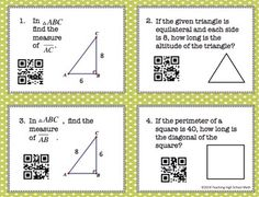 Geometry Pythagorean Theorem Task Cards with QR Codes Math 8, Math Teacher, Math Classroom, Cooperative Learning Groups, Student Teaching, Teaching Ideas, Student Binders, Teaching Geometry, Geometry Activities