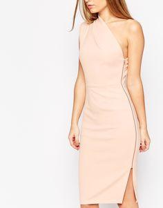 Image 3 ofASOS One Shoulder Midi Dress With Exposed Zip