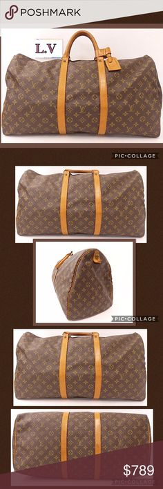 """Authentic Louis Vuitton KeepAll 55 Boston Bag Beautiful vintage Louis Vuitton Keep-All 55 Boston Duffle Bag in excellent pre-loved condition. The vashetta leather has suntanned to a gorgeous golden patina, and there is some normal darkening and minor cracking on the handles but doesn't affect the beauty or functionality of this timeless luxury bag. 21""""L x 12"""" H Travel in style! Louis Vuitton Bags Travel Bags"""
