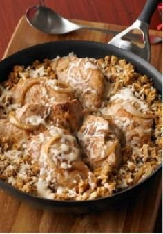 French Onion-Pork Chop Skillet -- Served piping hot right out of the skillet, this recipe--with pork chops and golden-brown sautéed onions--is the embodiment of French country cuisine.