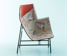 Paper Planes chair by Doshi Levien with Rubelli upholstery, Lo Sguardo Laterale: Moroso