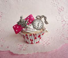 Alice in Wonderland White Rabbit Red Cupcake Necklace:  so cute!