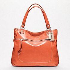 Poppy Leather Glam Tote in Tangerine