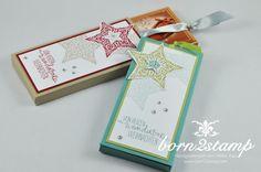 STAMPIN' UP! born2stamp Schoki Ziehverpackung Willkommen Weihnacht Zauber der Weihnacht Strassschmuck