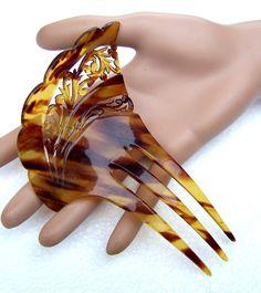 Art Nouveau Hair Comb Faux Tortoiseshell by ElrondsEmporium