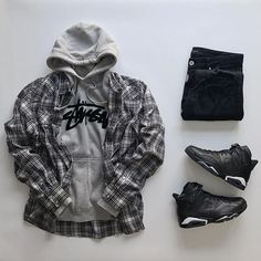 30 trendy outfit grids for men to stay in style 12 Swag Outfits Men, Tomboy Outfits, Dope Outfits, Casual Outfits, Fashion Outfits, Hype Clothing, Mens Clothing Styles, Mode Streetwear, Streetwear Fashion