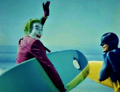 Joker and Batman head for the waves c.1966