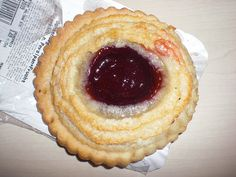 German pastry with marzipan and strawberry jam! Sometimes I have it as breakfast.