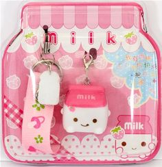 cute pink milk Tetra Pak cellphone charm kawaii 2