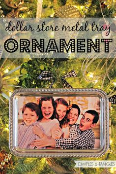 DOLLAR STORE METAL TRAY ORNAMENTS large DIY Christmas photo frame ornaments