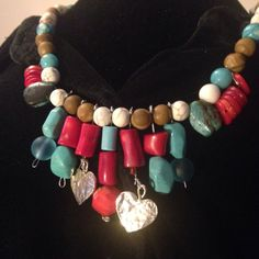 Genuine White and Blue Turquoise and Jasper Statement Necklace with Sterling Silver hearts, falls at collar bone. T-Toggle Clasp,Beautiful cascade of