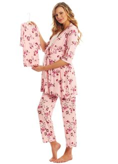 d31b4c29f9c07 Everly Grey - Analise 5 Piece PJ Gift Set in Pink Blossom. Maternity Pants, Maternity  Nursing ...