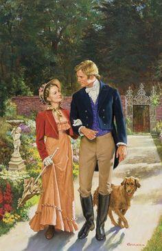 Berran, Robert Romantic Walk (Cover- 'Duke & Miss Denny') Romance Arte, Fantasy Romance, Romance Novel Covers, Romance Novels, Lovers Romance, Romantic Paintings, Beautiful Paintings, Couples Walking, Romantic Pictures