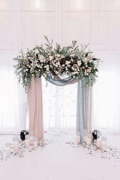 beautiful blush and grey drapery wedding arch ideas
