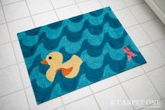 Summer Ducky | Pink Ribbon Welcome Mats