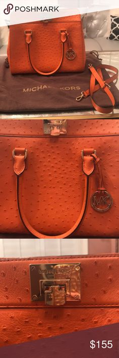 Michael Kors large ostrich skin bag Michael Kors beautiful tangerine ostrich skin bag. Never used. Perfect condition! Comes with dust bag and extra strap. Large bag. Michael Kors Bags