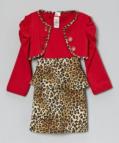 Take a look at this Red & Tan Leopard Peplum Dress & Crop Jacket - Girls by Just Kids on #zulily today!