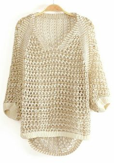 [back piece is modified rectangle shrug with top edge sewn to bottom edge to a point, a ribbed band is added to circumference, then front piece is added as a raglan sewn along 'shrug's' ribbed edges] -- White Spun Gold V-neck Knit Sweater