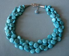Blue Statement Necklace... Chunky Turquoise Statement.... Blue Wedding Necklace...Turquoise Jewelry.... $50.00, via Etsy.