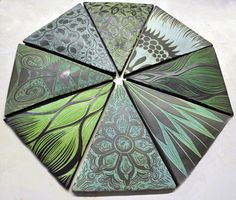 Geo backsplash tile: Emerald Octagon.  Handmade, sgraffito-carved, ceramic